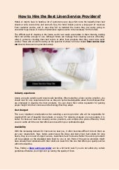 How to Hire the Best Linen Service Providers?