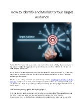 Identifying and Marketing Your Target Audience.