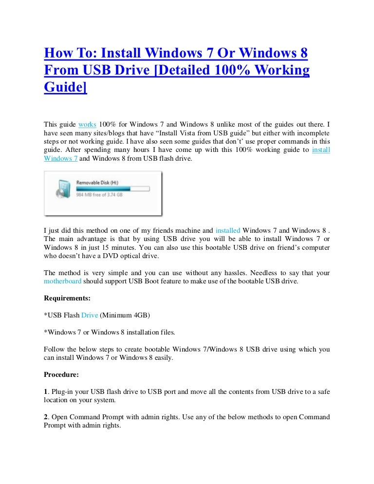 how to reinstall windows 7 from a usb drive