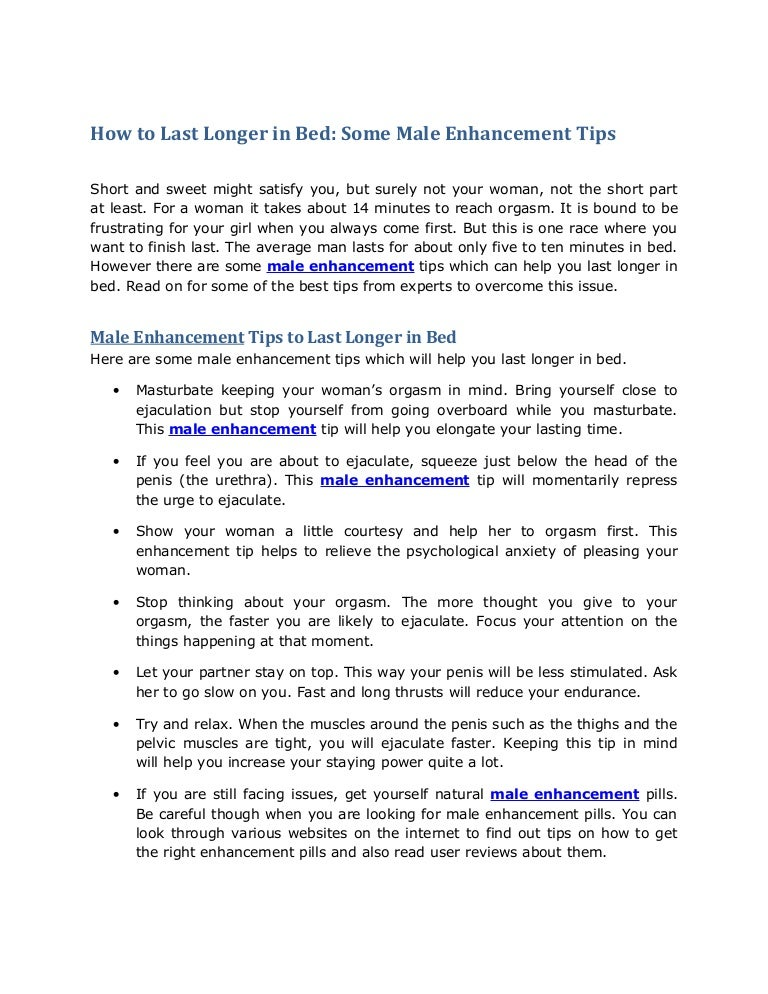 natural tips to last longer in bed