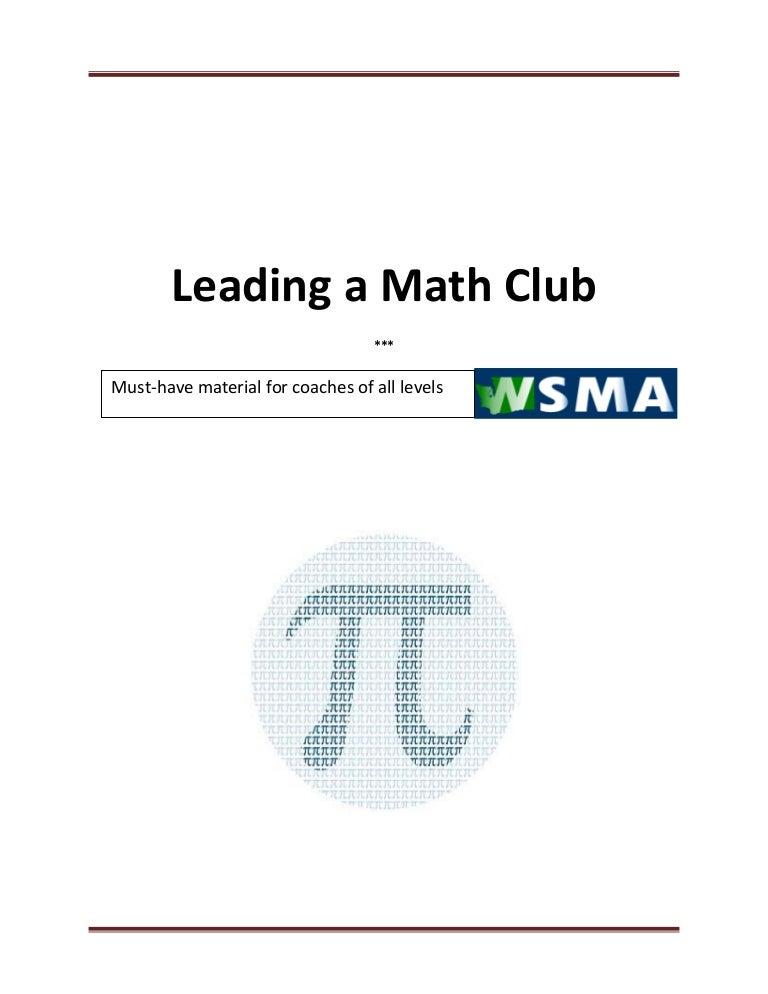 How to lead a math club