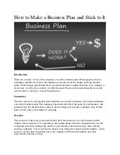 How to Make a Business Plan and Stick to It