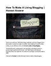 How to make a living blogging | honest answer