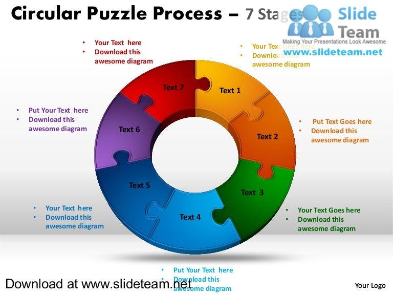 how to make create 7 pieces doughnut chart circular puzzle