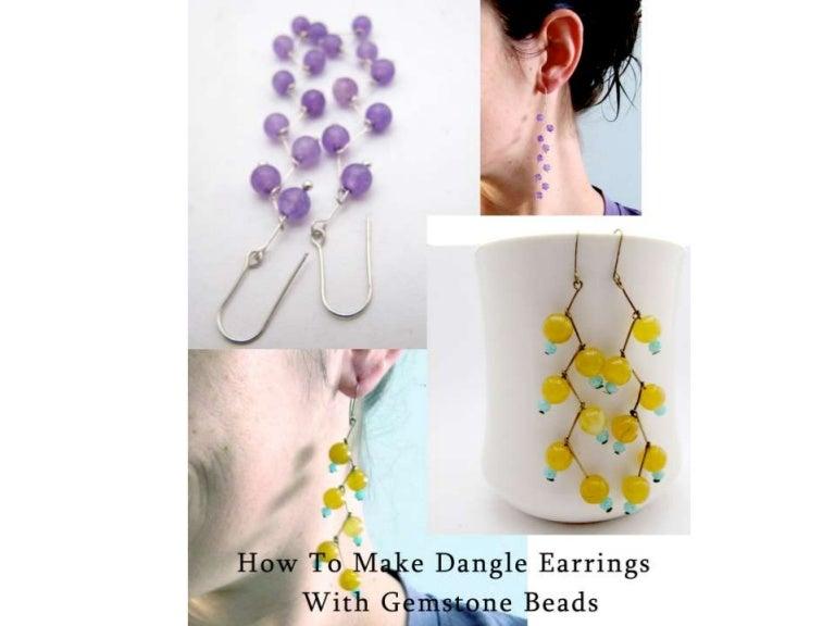 drop earrings with gemstone beads