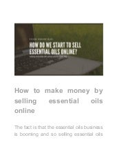 How to make money by selling essential oils online