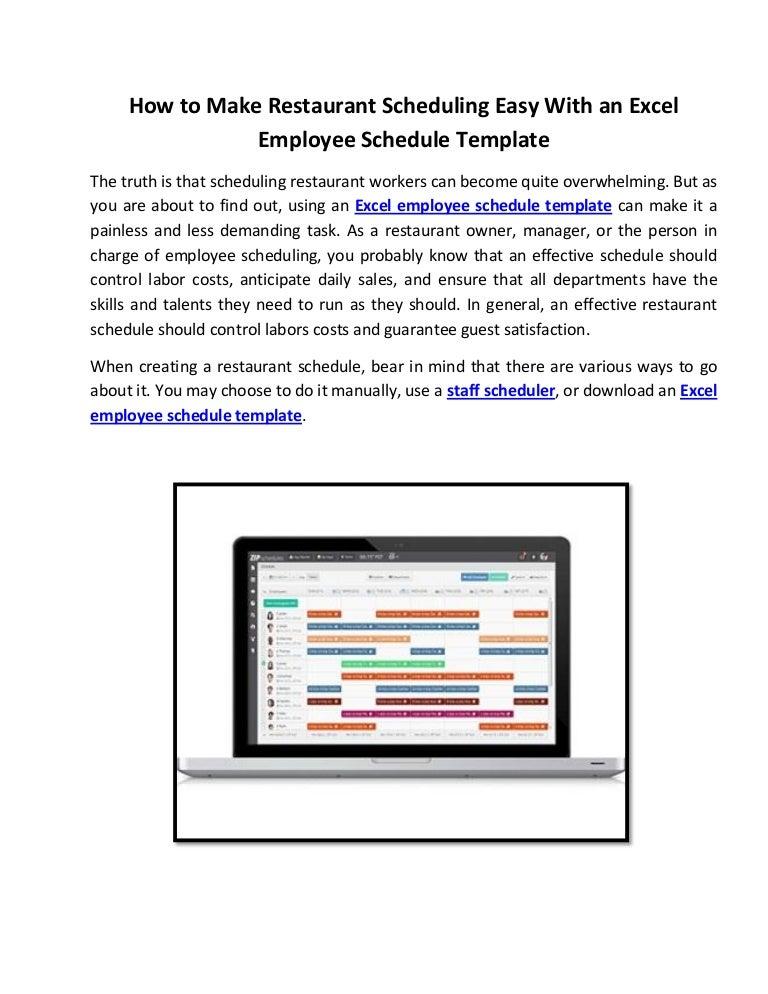 restaurant scheduling
