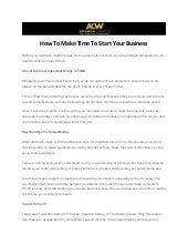 How To Make Time To Start Your Business