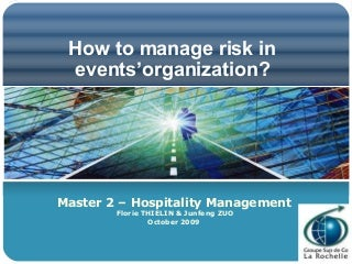 How To Manage Risks In Events'Organization ?