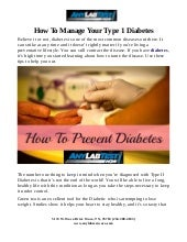 How To Manage Your Type 1 Diabetes