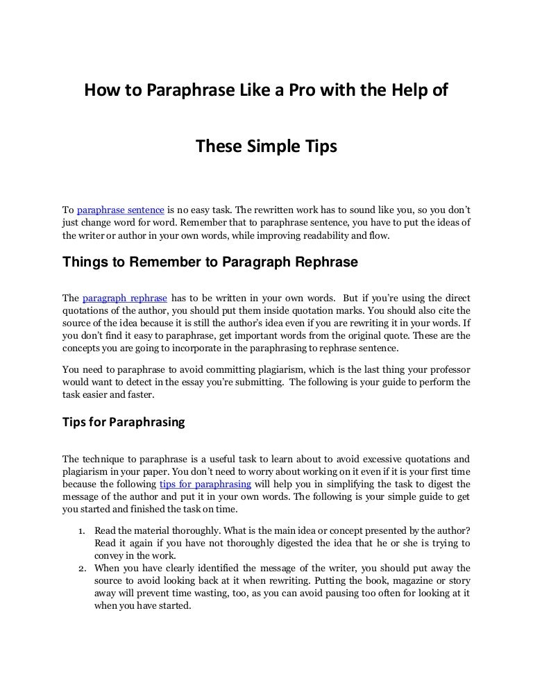 effective tips and tricks to paraphrase sentence like a pro