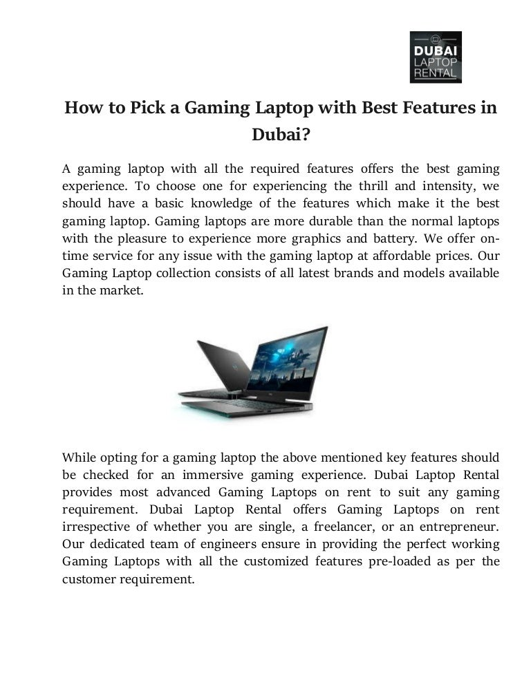 How to Pick a Gaming Laptop with best Features in Dubai?