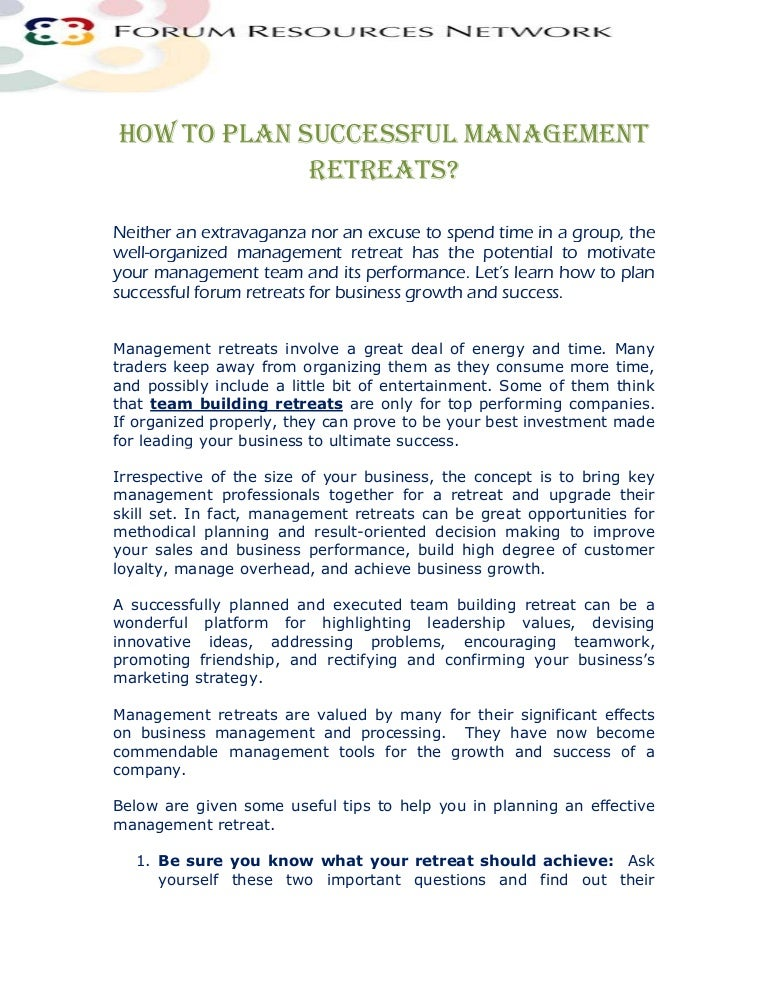 How To Plan Successful Management Retreats?