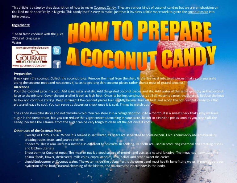 How to prepare a coconut candy