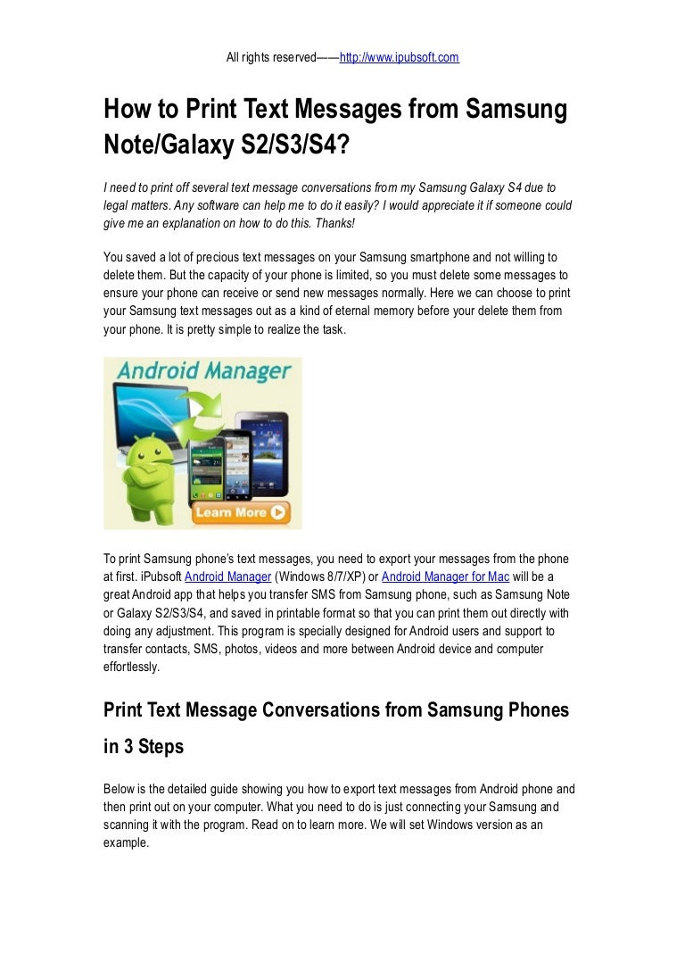 How to Print Text Messages from Samsung Note or Galaxy S2 S3 S4