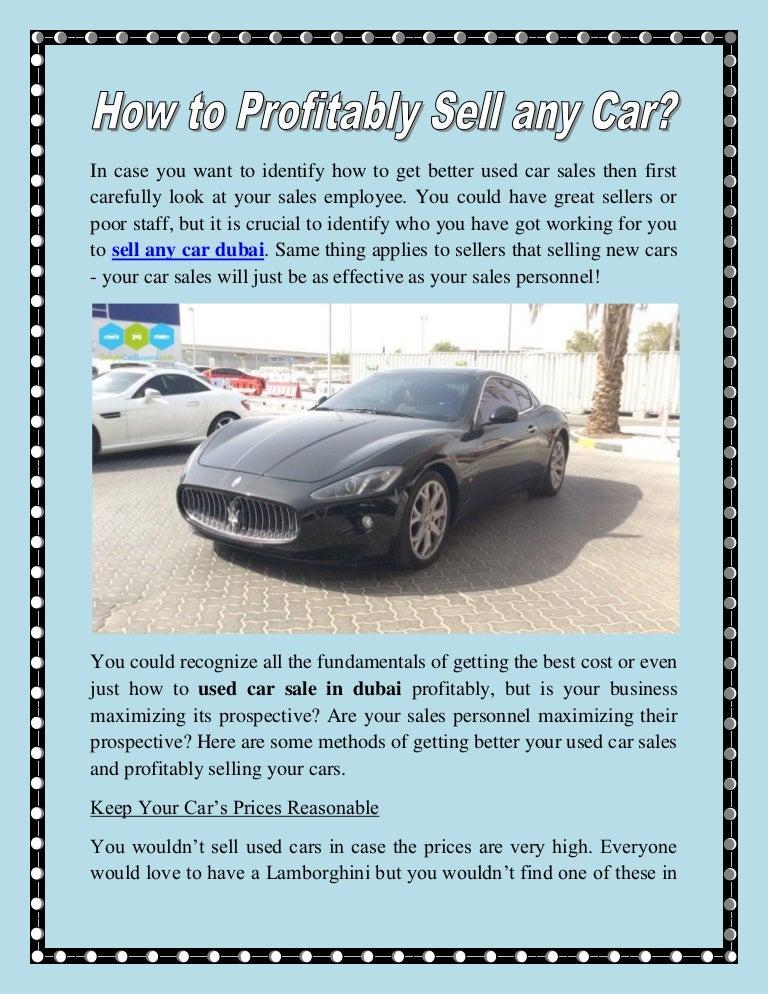 How to profitably sell any car
