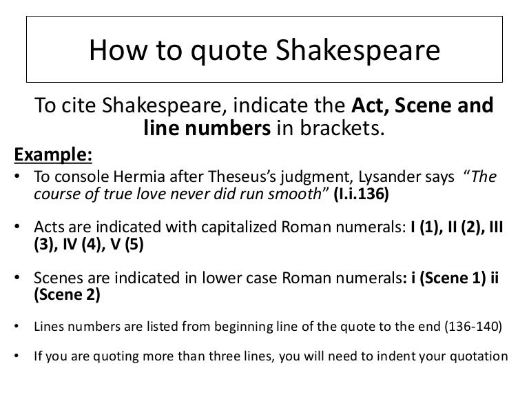 How to quote shakespeare