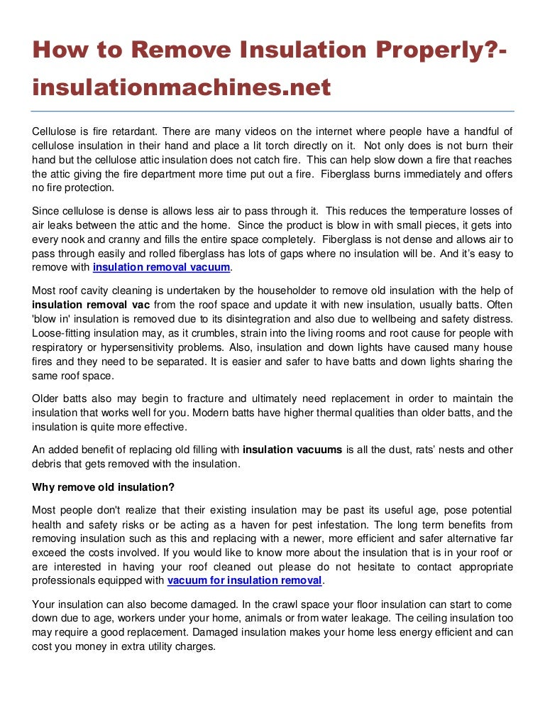 How to remove insulation properly insulationmachines net