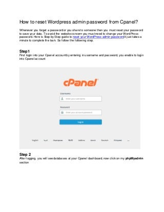 How to reset WordPress admin password from Cpanel?