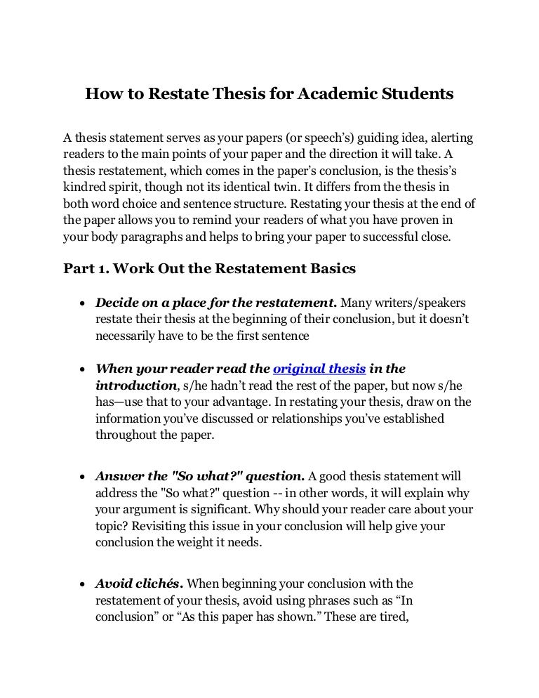 How To Restate Thesis For Academic Students Delhi, Chandigarh, India …