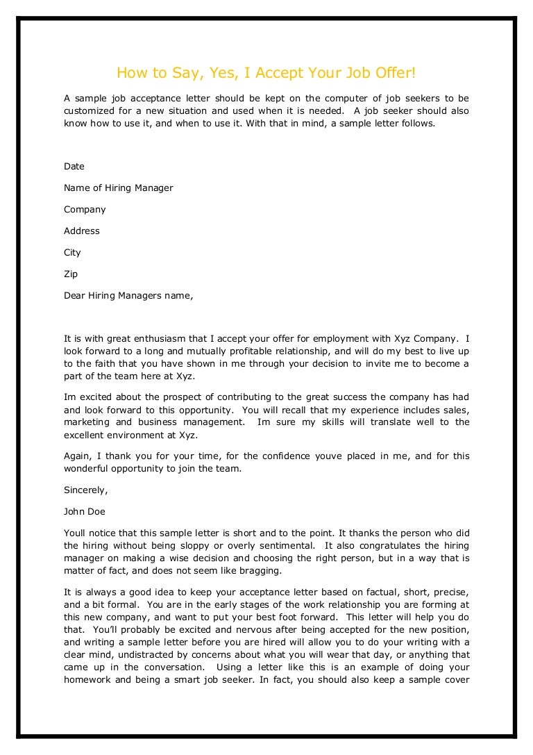 How to say yes i accept your job offer – Thank You Letters for Job Offer