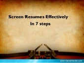 How To #Screen #Resume Effectively