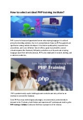 How to select an ideal php training institute