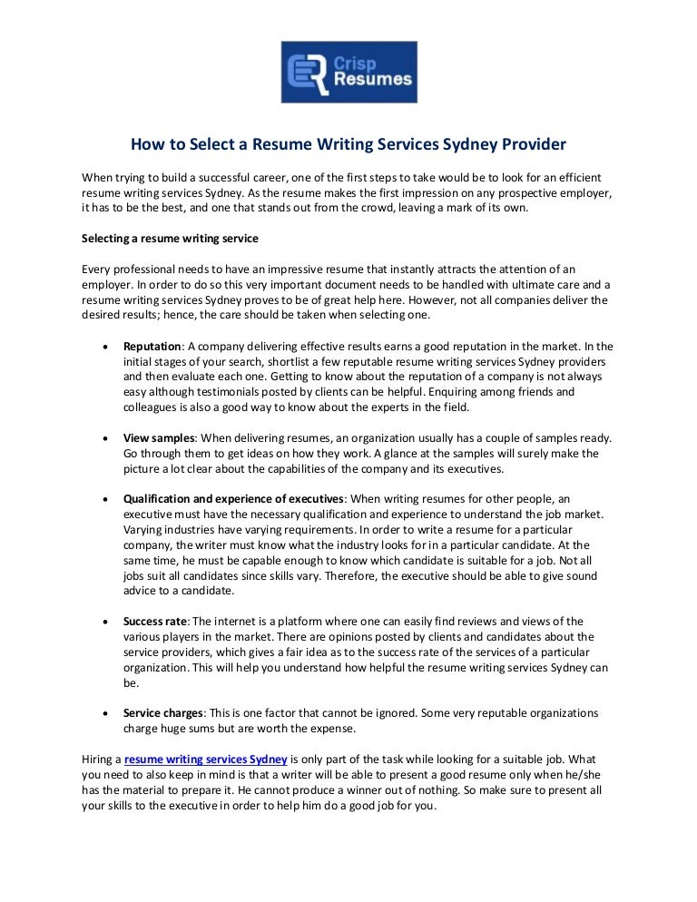 How To Select A Resume Writing Services Sydney Provider