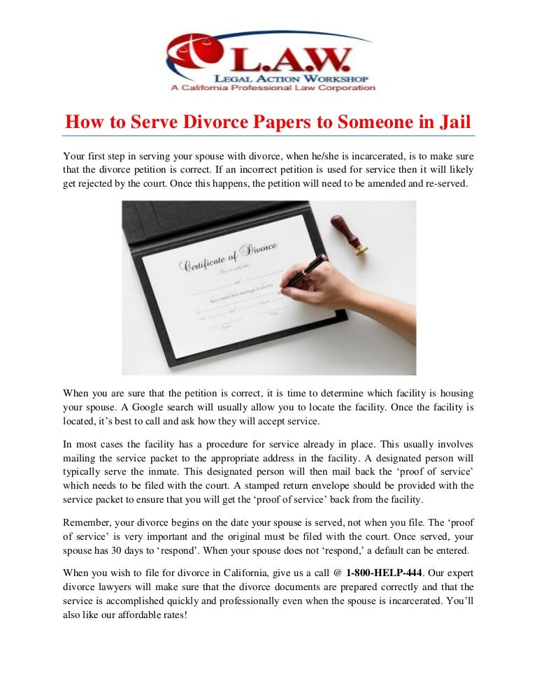how to serve divorce papers to someone in jail