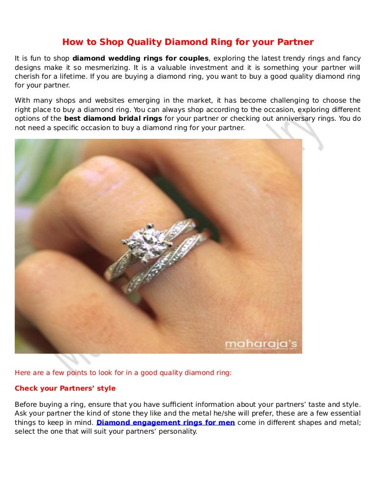 How To Shop Quality Diamond Ring For Your Partner Maharajas Fine Jew