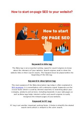 How to start on page seo to your website