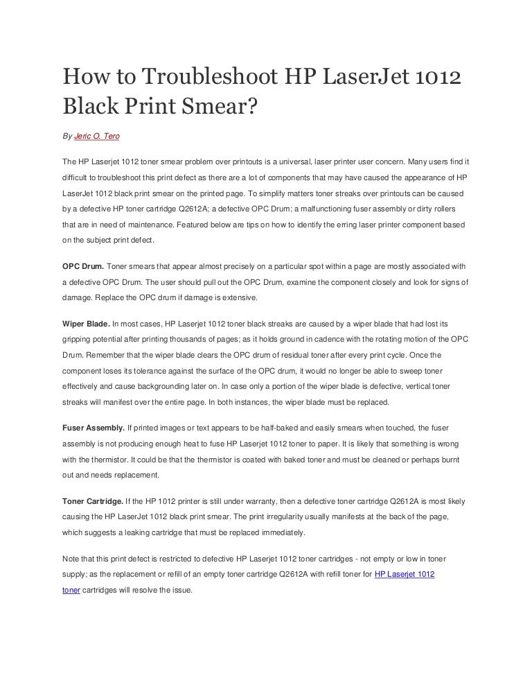 How to troubleshoot hp laser jet 1012 black print smear