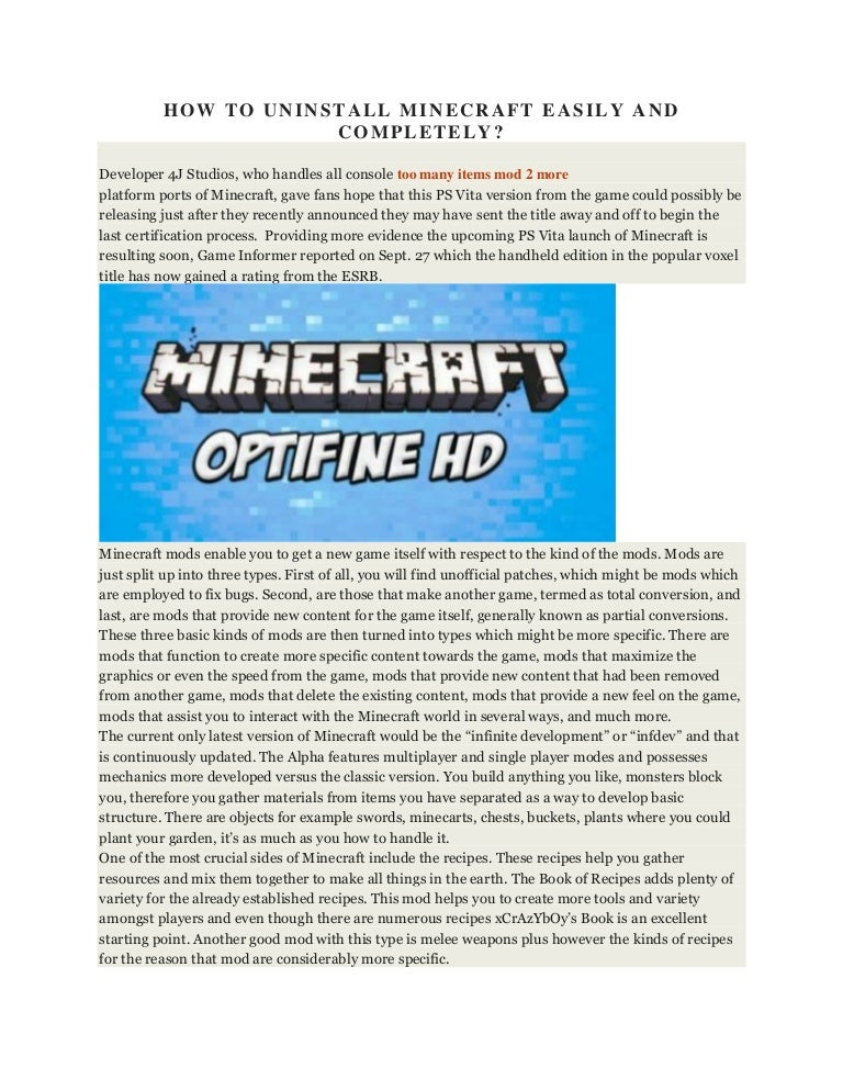 How to uninstall minecraft easily