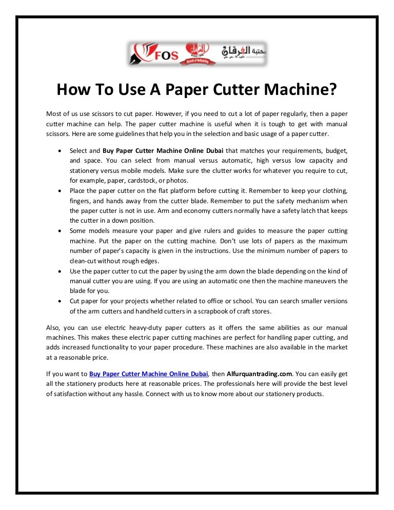 How to use a paper cutter machine