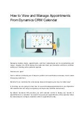 How to view and manage appointments from dynamics crm calendar (1)