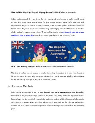 How to win big at no deposit sign up bonus mobile casino in australia