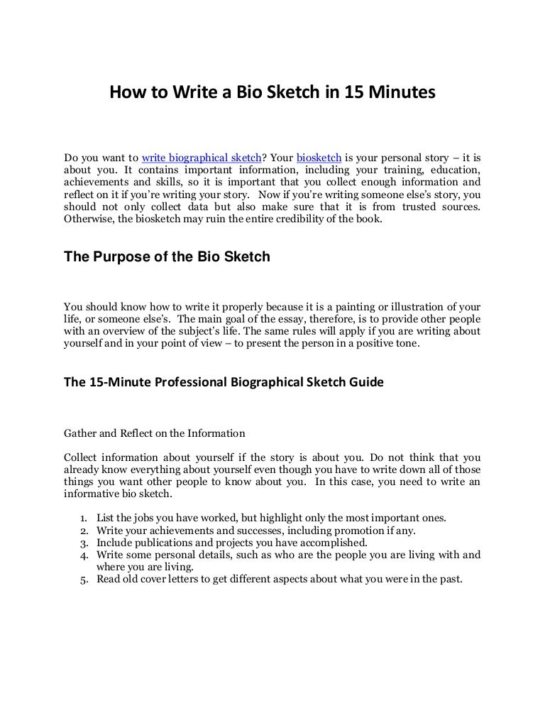 Discover the Secrets to Write Biographical Sketch in 15 Minutes