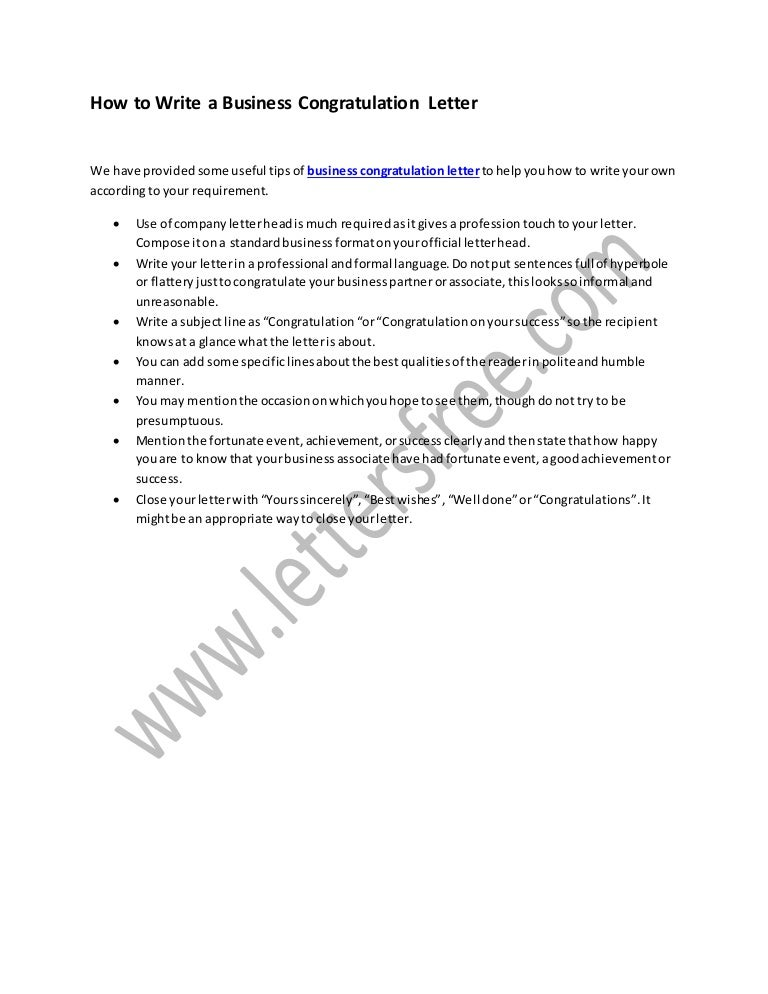 How To Write A Business Congratulation Letter