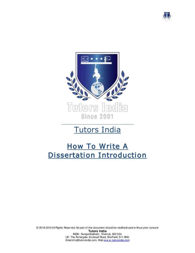 How To Write A Dissertation Introduction | Tutors India
