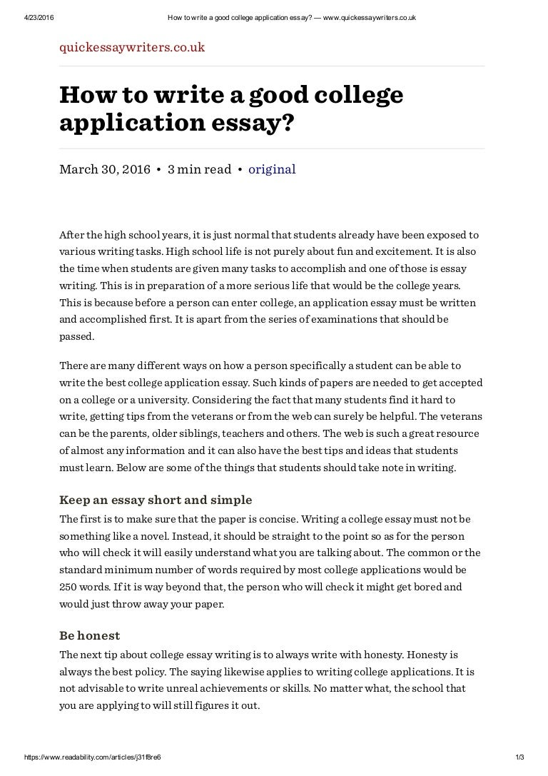 Writing an essay for college application job