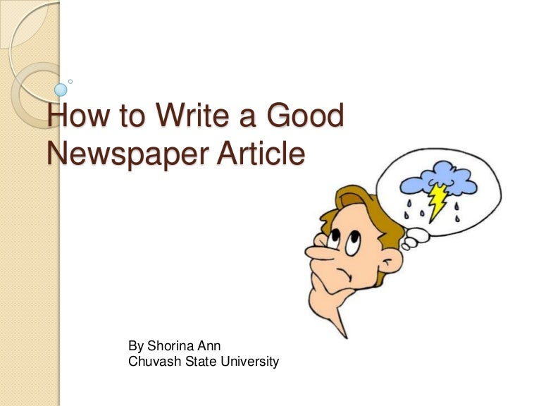 how to write a good news article pdf
