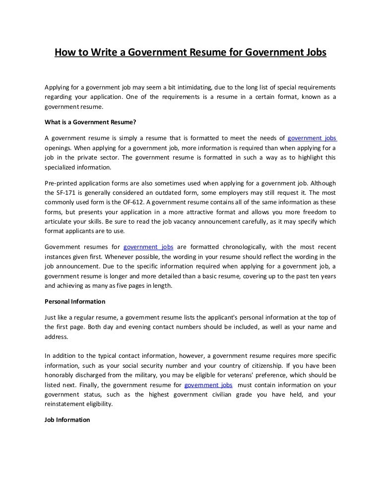 resume format for government jobs