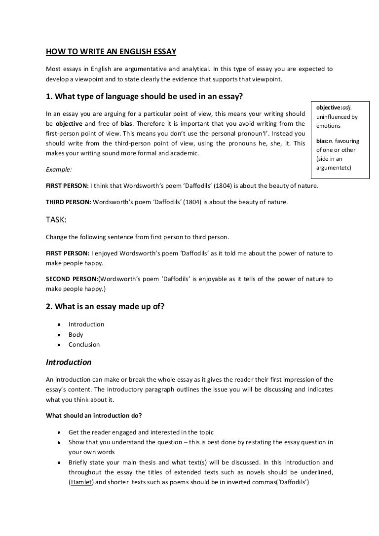 Exceptionnel How To Write An English Essay Booklet