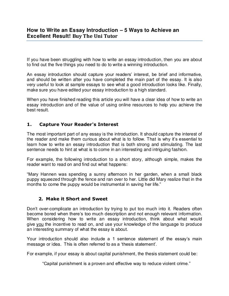 Essay Introduction  Write a Thesis and Capture Your Audience     laredo roses Example   Introduction example