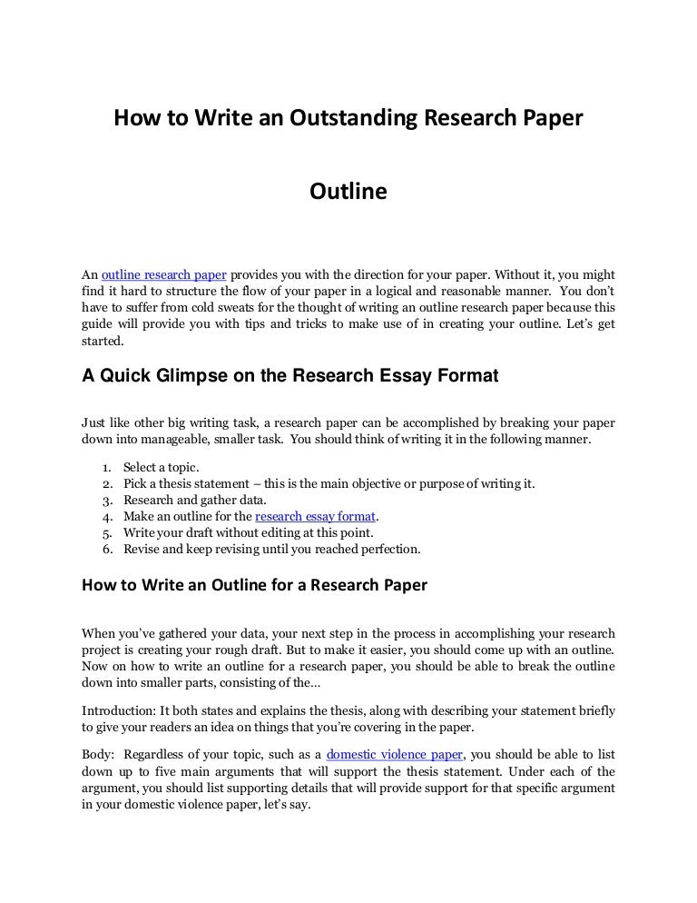 how to write a research project outline