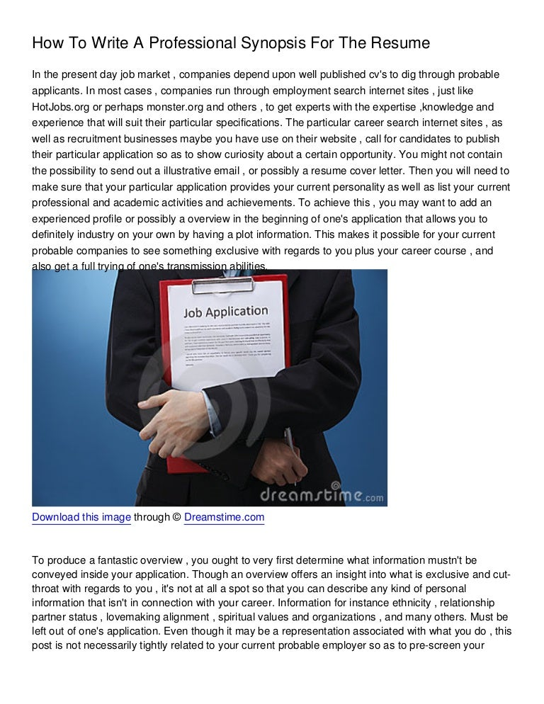 howtowriteaprofessionalsynopsisfortheres 130112024839 phpapp01 thumbnail 4 jpg cb 1357958931