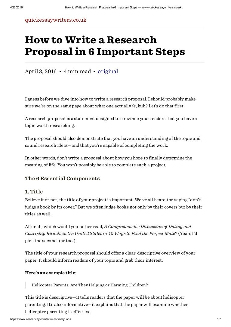 how to write a research proposal in important steps quickessa