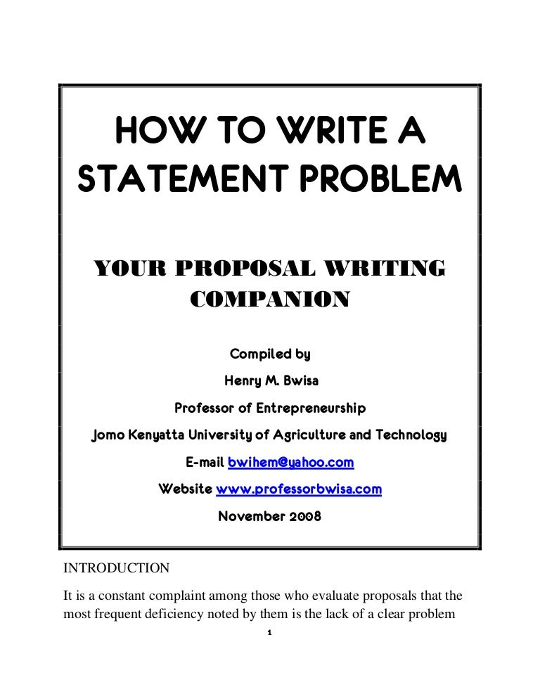research proposal problem statement examples