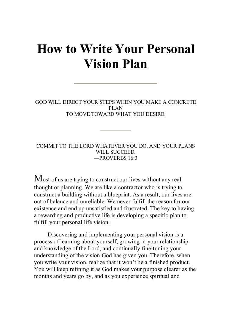 writing your personal vision plan