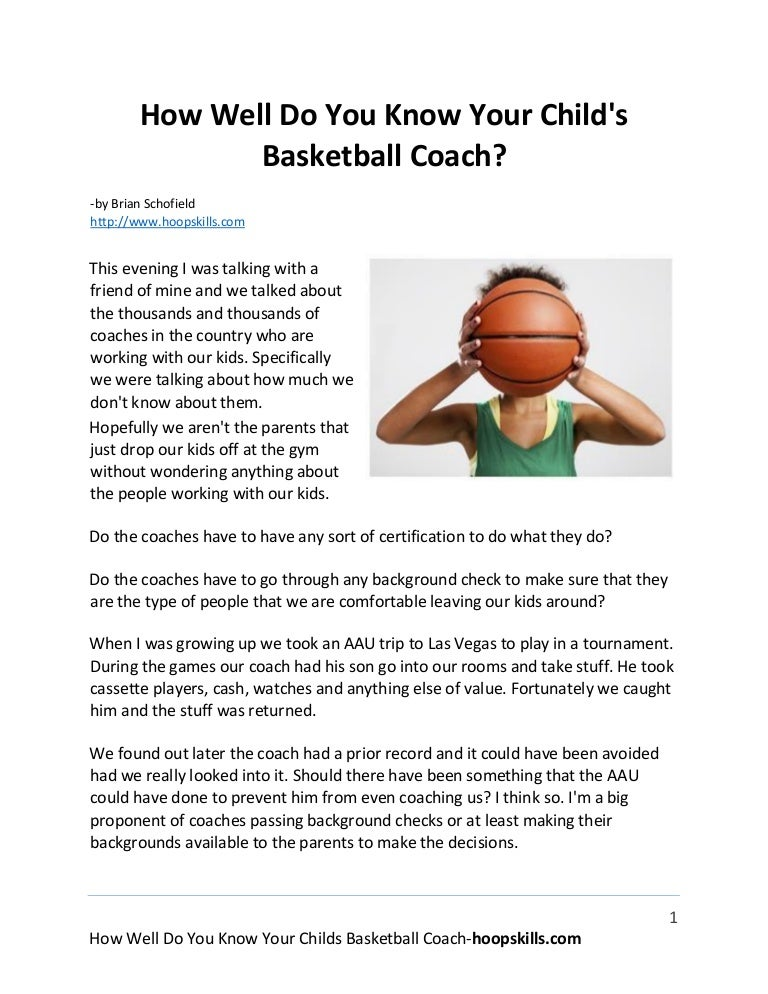 How Well Do You Know Your Childs Basketball Coach